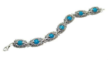carbuncle: silver turquoise bracelet isolated on white