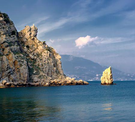 panorama of Black sea with mountains. Crimea, Ukraine