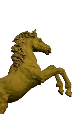 bronze statue of horse isolated on white photo