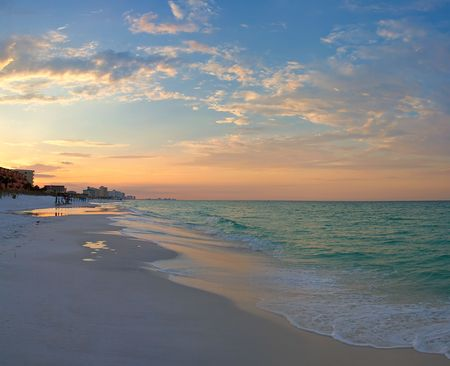 Ocean Beach bij zonsopgang. Destin, Florida, USA