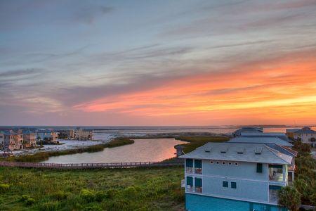sunset over Destin city. Florida, USA