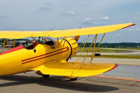 yellow vintage airplane photo