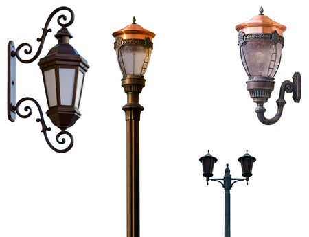 Retro street lamps isolated on white Stock Photo - 5420594