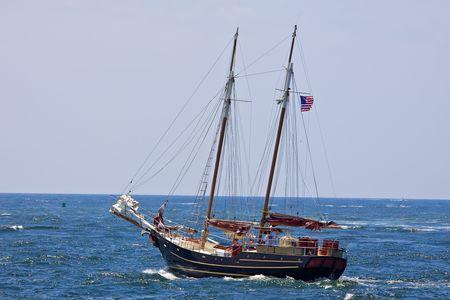 Sailboat sailing in the morning photo