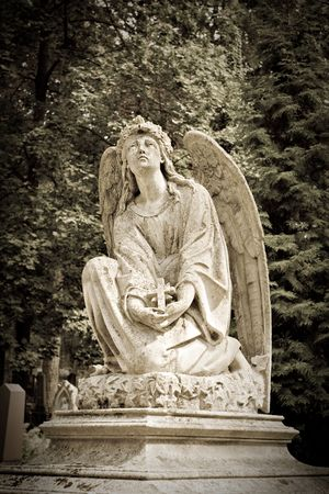 Angel statue in a cemetery or graveyard  photo