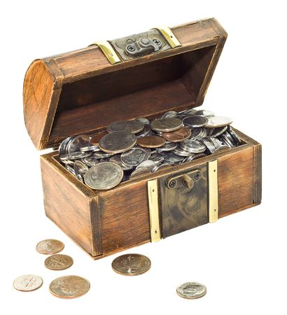 overfilled: Wooden chest overfilled with coins isolated on white Stock Photo