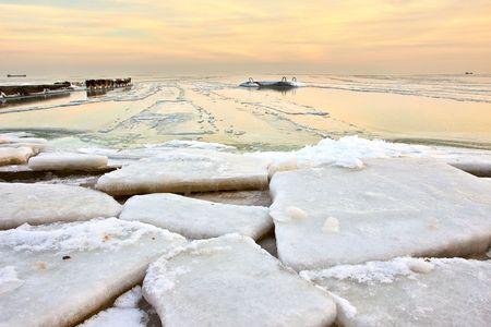 Desert of ice at sunset photo