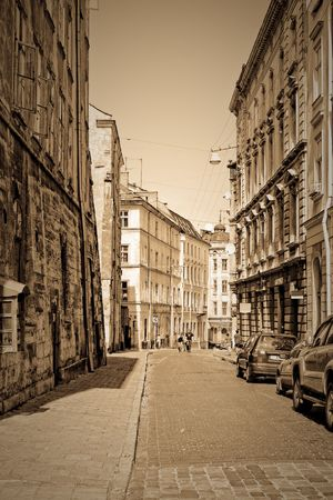 central europe: Historic street in old part of europe town. Lvov, Ukraine Stock Photo