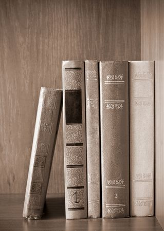 vintage photo of old books on the shelf Stock Photo - 6499900