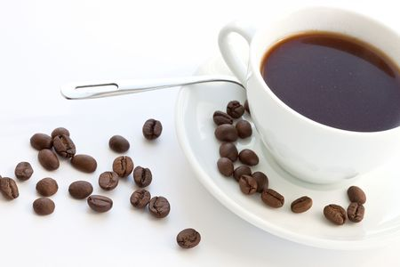 cup of coffee with coffee grain 스톡 콘텐츠