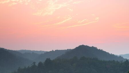 ridgeline: Smoky mountains sunset. Great Smoky Mountain National Park, Tennessee, USA Stock Photo