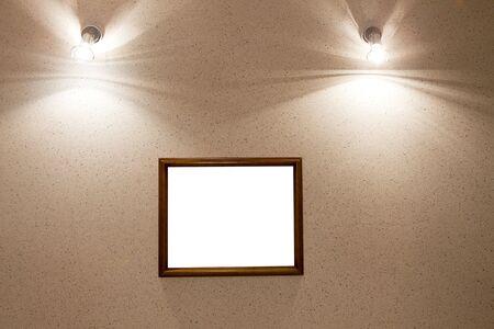 pared iluminada: marco de imagen en pared iluminada  Foto de archivo