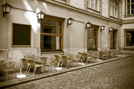 vintage style photo of outdoor cafe. Viena, Austria Foto de archivo