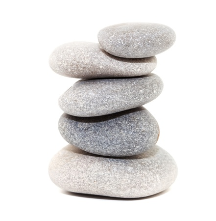 Stack of white stones isolated on white