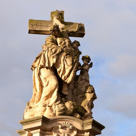 inri: Statue of jesus christ crucified. Prague, Czech republic