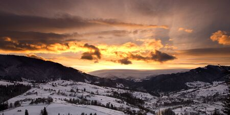 Winter mountain cloudy sunset Stock Photo - 10107450
