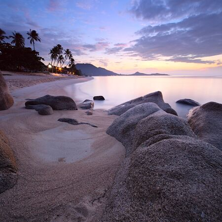 Sunrise at tropisch strand, Koh Samui Island, Thailand Stockfoto - 11602330