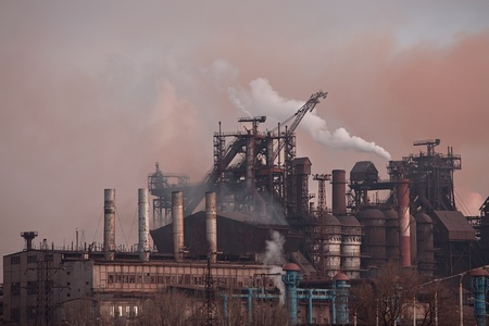 Metallurgical works with smoke. Industrial architecture