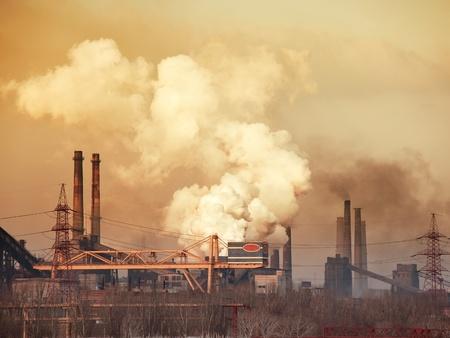 Industrial plant. Luchtverontreiniging concept.