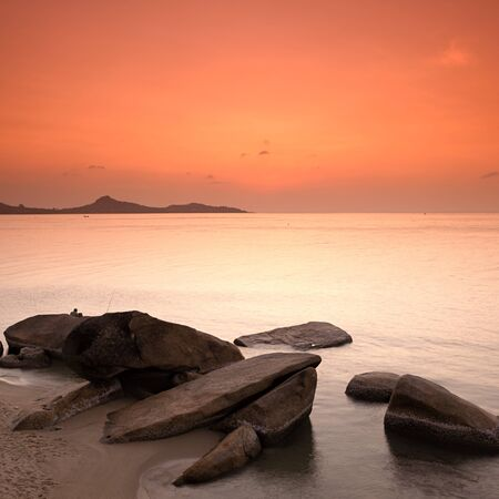 Sunrise at rocky seascape, Koh Samui Island, Thailand  photo