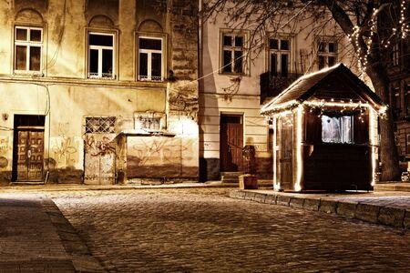 Old European town at night photo