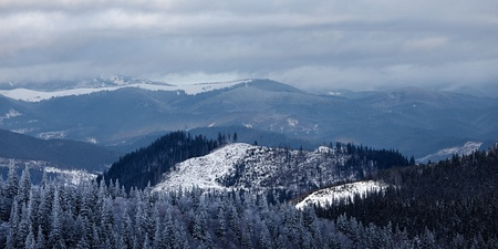Panorama of winter mountain valley. Great Smoky Mountain National Park, Tennessee, USA photo