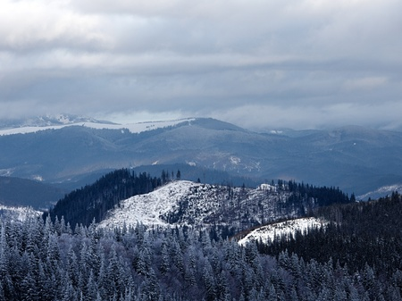 Winter mountain valley. Great Smoky Mountain National Park, Tennessee, USA photo