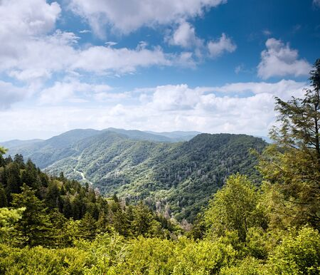 Mountain valley at sunny day. Great Smoky Mountains, Tennessee, USA  photo