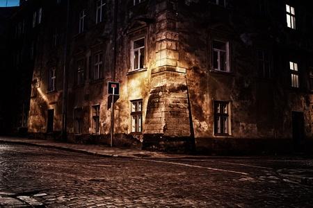 Oude Europese stad 's nachts Stockfoto