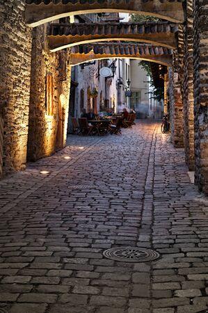 Old european street. Estonia, Tallinn photo