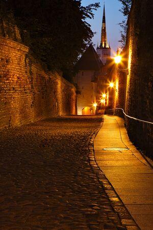 streetlamp: Old European street at night