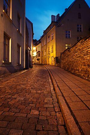 Old European street at night photo