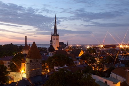 Panoramisch uitzicht van Tallinn oude stadscentrum. Estland