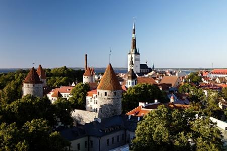 tallinn: Panoramic view of Tallinn old city center. Estonia Stock Photo