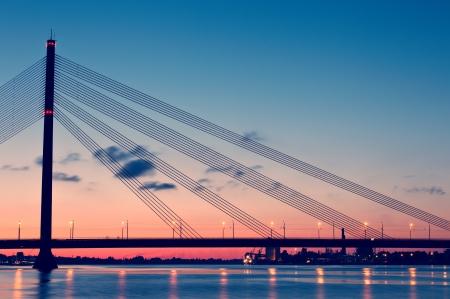 latvia: Bridge at night. Riga, Latvia