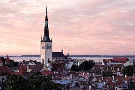 Panoramisch uitzicht van Tallinn oude stadscentrum Estland