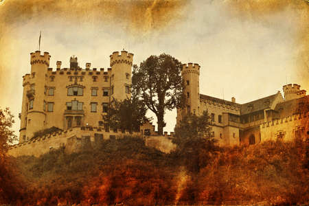 Vintage style picture of Hohenschwangau Castle. Germany