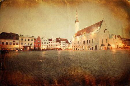 Retro style image of town hall square in Tallinn, Estonia Stock Photo - 16799014