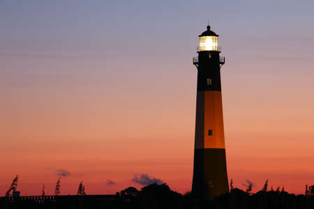 tybee island: Lighthouse at the night, Tybee island, USA Stock Photo