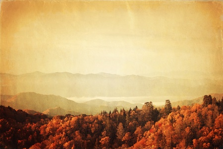 blue ridge mountains: Retro style photo of Great Smoky Mountains National Park, Tennessee, USA