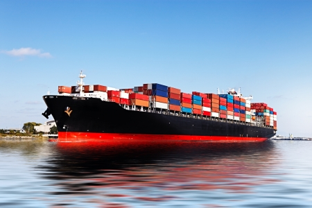 Cargo ship in the port Stock Photo