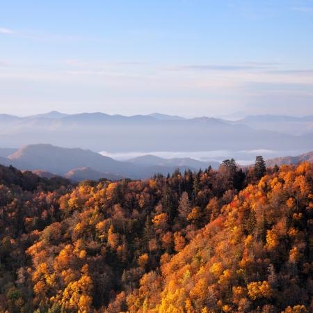 Sunrise at Smoky Mountains. Great Smoky Mountains National Park, USA Stock Photo