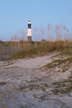tybee island: Lighthouse at sunrise, Tybee island, USA