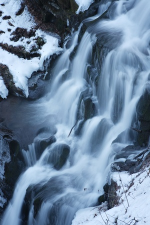 Winter waterfall, Carpathian mountains, Ukraine Stock Photo - 20987815