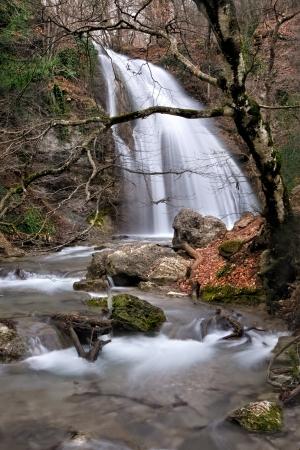 Forest waterfall, Crimea, Ukraine photo