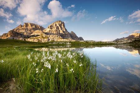 dolomite: Mountain lake, Italian Dolomites Stock Photo