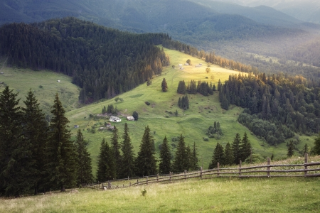 fense: Carpathian mountains rural landscape  Carpathian mountains, Ukraine Stock Photo