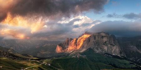 fassa: Panoramic view of Sella group mountain, Val di Fassa, Italian Dolomites