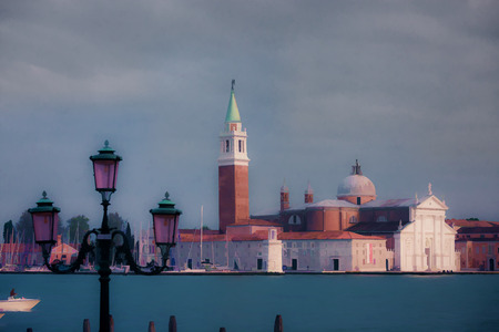 Oil painting style picture of San Giorgio Maggiore Island, Venice, Italy photo