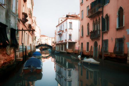 Oil painting style picture of small canal in Venice, Italy photo